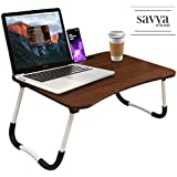 Savya home® Multifunction Wooden Foldable Bed Table- Laptop Table for Reading/Eating/Study/CRAFTWORK Laptop Table Walnut (LTP)