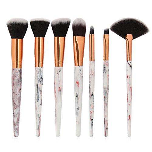 Moonuy Filles 7PCS Pinceaux de Maquillage Blush Brush Outline Ensemble de pinceaux cosmétiques Femme Brosse anti-cernes Face Powder Makeup Brush Set Beauty Makeup Tools (RoseA)
