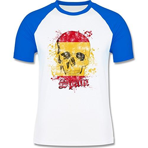 EM 2016 - Frankreich - Spain Schädel Vintage - zweifarbiges Baseballshirt für Männer Weiß/Royalblau