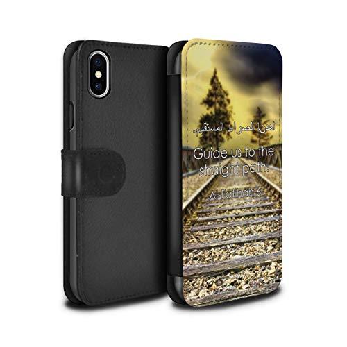 eSwish PU-Leder Hülle/Case/Tasche/Cover für Apple iPhone XS Max/Führe Uns Den Geraden Weg Muster/Islam Koran Vers Kollektion