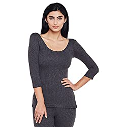 Neva Women Solid Thermal Tops Anthra Coloured X-Small