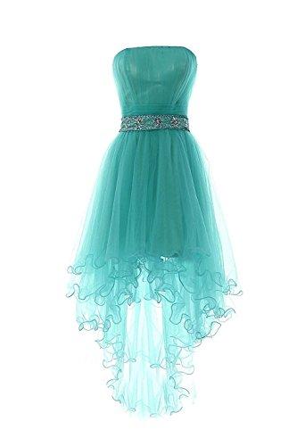 Carnivalprom Damen Hi-Lo Abendkleider Asymmetrisch Trägerlos Ballkleid Perlen Taille Cocktailkleid Partykleid Türkis