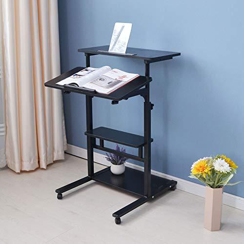 Estink Computertisch mit 4 Ablagefächern, klappbar, höhenverstellbar von 85-120 cm Noce Nero