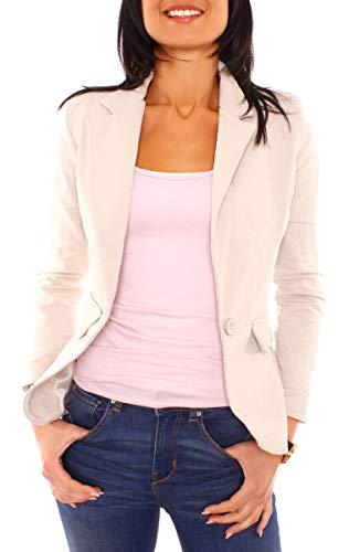 Easy Young Fashion Damen Sommer Sweat Jersey Blazer Jacke Sweatblazer Jerseyblazer Sakko Kurz Gefüttert Langarm Uni Einfarbig Hellbeige XS - 34 (S)