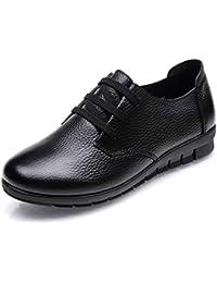Mujeres Oxfords Mocasines Zapatos CóModos Casuales con Cordones Pisos Cuero  De Vaca Resistencia Al Deslizamiento Calzado 65fea084bd99