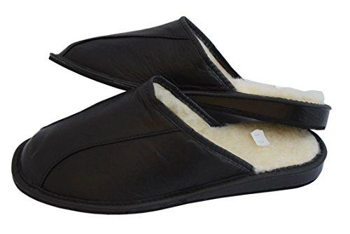 Naturale pelle di vitello e pecora lana nero marrone scarpe da uomo pantofole Mulo Black