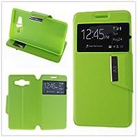 MISEMIYA - Coque Étui pour Samsung Galaxy A5 2016 (A510F) - Étui + Protecteur Verre Trempé, COVER-VIEW avec support,Green