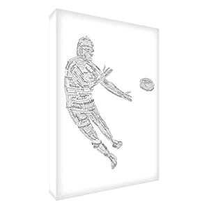 Feel Good Art Diamond Polished Token in Modern Typographic Rugby Player Design (10 x 15 x 2 cm, Small, Multi-Color on Black)