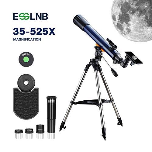ESSLNB 70/700 Teleskop für Kinder Einsteiger mit Handy Adapter Ausziehbares Stativ Aufrechtes Red Dot Suchfernrohr Barlow und Mondfilter