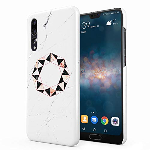 Onyx & Rose Quartz Octagon On White Marble Stone Dünne Rückschale aus Hartplastik für Huawei P20 Pro Handy Hülle Schutzhülle Slim Fit Case Cover
