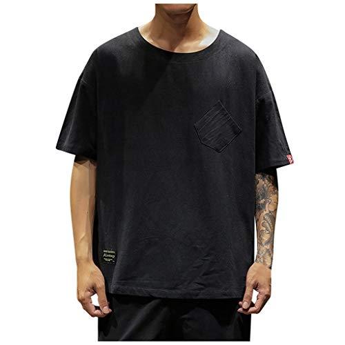Sommer Leinen Basic Kurzarm Herren T-Shirts einfarbige shaped Freizeit Print Schnell trocknend Atmungsaktiv Tee -