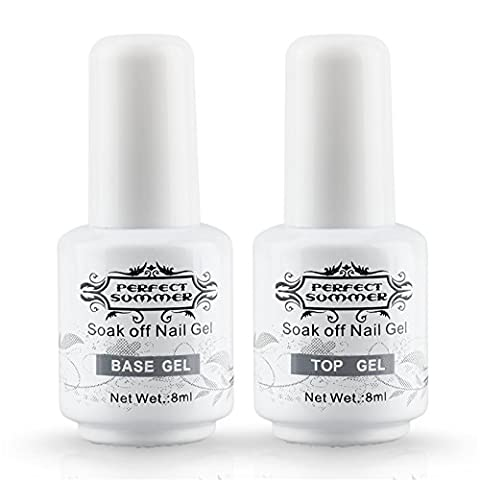 Perfect Summer 2PCS Gel Nail Polish Top Coat + Base Coat UV LED Manicure Shiny Surface Cover Primer Nail Starter