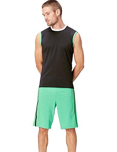 Activewear Tank Top Herren, Schwarz (Black/White/Apple Green), 50 (Herstellergröße: Medium) -