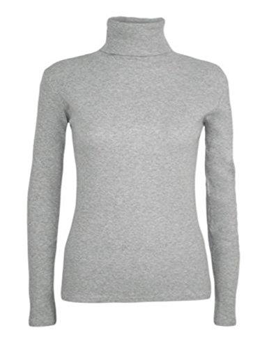 WearAll - Nouveau Dames Col roulé Manches Longues Extensible Top Jumper - Hauts - Femme - Tailles 36 - 42 ..Grey