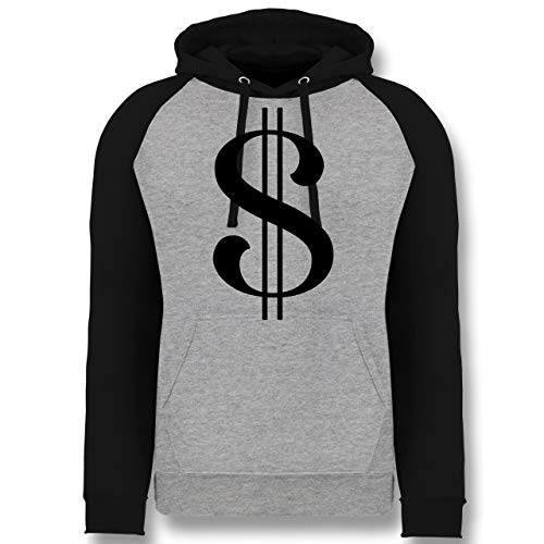 (Shirtracer Karneval & Fasching - Dollar Kostüm - M - Grau meliert/Schwarz - JH009 - Baseball Hoodie)