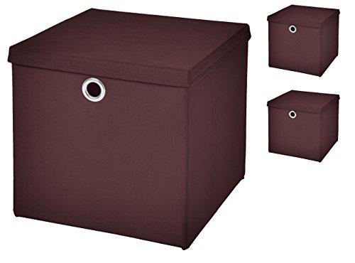 faltboxen stoff Stick&Shine 3er Set Braun Faltbox 32 x 32 x 32 cm Aufbewahrungsbox Faltbar mit Deckel