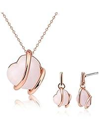 Adisaer Aleación de Metal Damas Conjunto Joyería Collar Pendientes Oro Rosa Círculo Ópalo Corazón Joyería Para Mujeres Regalo