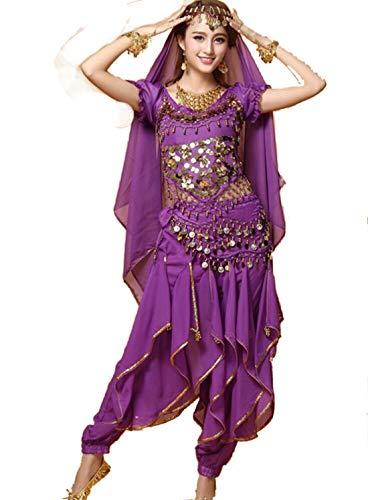 Kleidung Kostüm Zigeuner - ZYLL Indian Bollywood Dame Bauchtanz Kleidung Frau Set Kleider Bellydance Kleid Anzug Rot Indian Bollywood TäNzer Tanzen KostüM Frauen,Purple