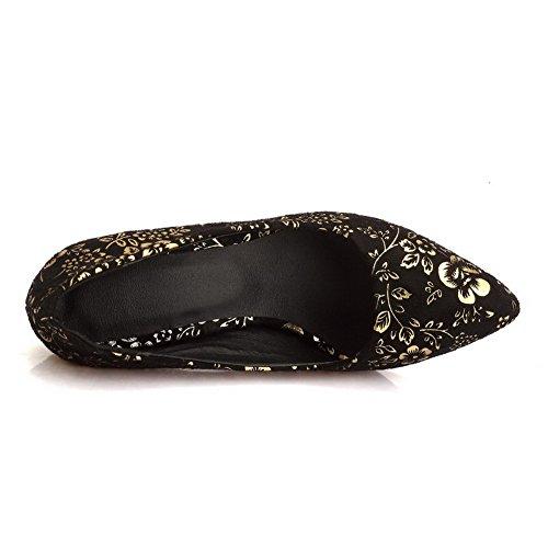 VogueZone009 Damen Hoher Absatz Ziehen Auf Weiches Material Spitz Zehe Pumps Schuhe Golden