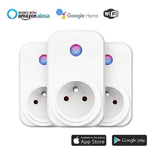 Intelligente PriseWiFi,Prise Connectée Intelligente WiFi Prise Compatible avec Android iOS Alexa Prises Télécommandées Prise Courant Intelligente Prise de Courant Mise en Veille Programmable Smart