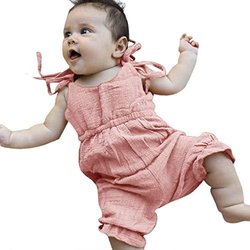 Kobay Estate Ragazze dei Neonati Estate Pagliaccetto Solido della Tuta della Tuta Outfits Prendisole(Rosa,100)