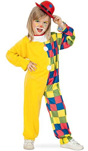 KarnevalsTeufel Kinderkostüm-Set Clown, 2-TLG. Overall und Mini-Melone   Gr 104 - 116   Spaßvogel, Scherzbold, Schelm, Karneval, Mottoparty (116)