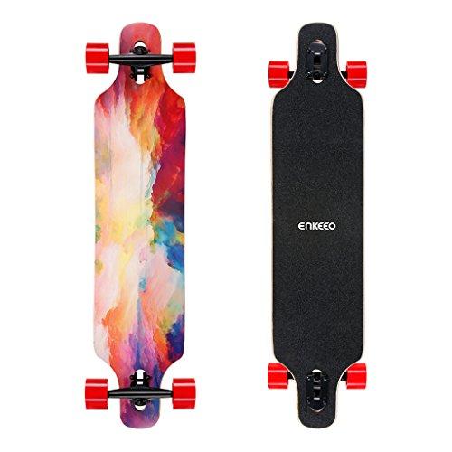 ENKEEO 23x103.5cm Longboard, Monopatín con Rodamiento de ABEC-11 y 9 Capas Flexible de Arce, Tabla Completa (Nube iridiscente)