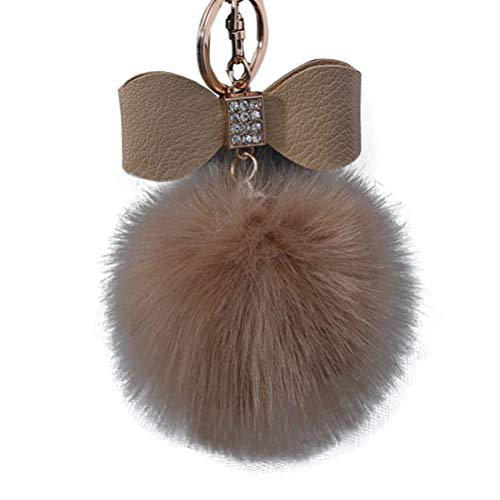 Zimuuy Diamant Kaninchenfell Ball Bowknot Schlüsselanhänger Autoschlüssel Ring Plüsch Anhänger(Größe: 10 cm) (Braun) (Diamant-ring Schlüsselanhänger)