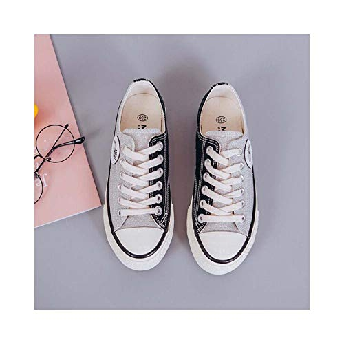 0358f9f41a006 Spring Ladies Sneakers Oxfords Flats Lace Up Canvas Leisure Casual Comfort  Shoes Black UK6=US8=AU7=EUR 39