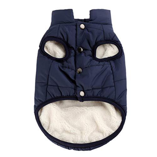 POPETPOP Haustier Kleidung Winter warme Mantel Hund Jacke Kleidung Kleine Welpen Hoodie Mantel Baumwolle gefütterte Jacke Custome Bekleidung - Größe XXXL (Navy)