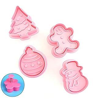 Ouken 4pcs Mini Navidad con Temas de Cortador de la Galleta Conjunto de Invierno moldes de plástico de Dibujos Animados y Diferentes Formas de Prensa Que adorna la Herramienta de la Torta