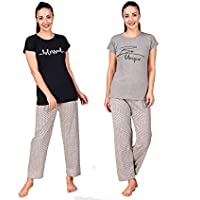 Trendy House Women & Girl 100% Cotton Night Suit Sets Cotton Top and Pyjama Set Pack of 2
