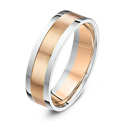Theia 9ct White Gold Flat Court with Rose Gold Matt Inlay 6mm Wedding Ring - Size T