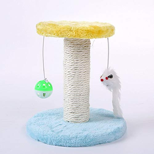 Yaoaofron Cat's Tree Climbing Frame Cat's Scrape Board Rolling Sisal Scraping Post Blue&Yellow