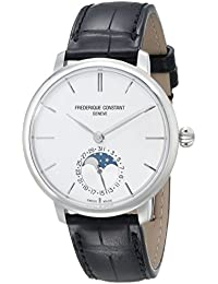 Frederique Constant Slim Line Moonphase FC703S3S6 38.8mm Automatic Stainless Steel Case Black Leather Anti-Reflective Sapphire Men's Watch