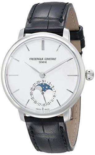 Frederique Constant da uomo fabbricazione Slimline fasi lunari orologio automatico 42mm Custodia in acciaio nero 705S4S6