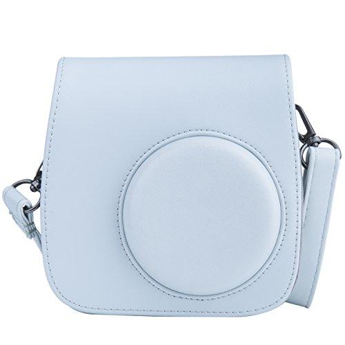 [Kamera Tasche für Fujifilm Instax Mini 8/ Mini 9] - ZWOOS Reise Kameratasche Gehäuse Taschen mit Schultergurt/Weinlese PU Leder für Fujifilm Instax Mini 8/ Mini 8S/ Mini 9 Tasche(Smoky weiß)