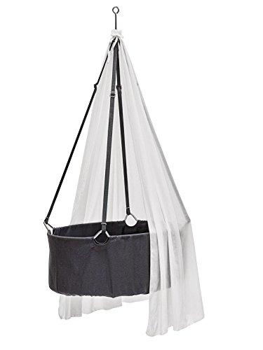 Preisvergleich Produktbild Leander Wiege - Babywiege grau inkl. Matratze und Deckenhaken - mit Himmel (Schleier) weiß