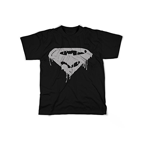 rt mit Aufdruck in Schwarz Gr. XXL Superhelden Logo Design Boy Top Jungen Shirt Herren Basic 100% Baumwolle Kurzarm (Superman T Shirt Kostüm)