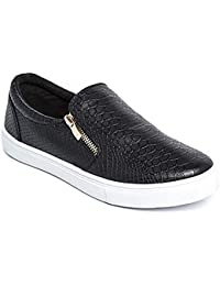 b4f6ce1c2ca0 Womens Ladies Flat Slip On Faux Croc Plimsolls Pumps Shoes Skater Trainers  Size