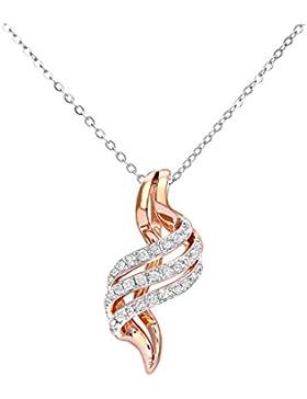 Revoni - 9 Karat Rot- und Weißgold Crossover Diamant-Anhänger mit Kette, 46 cm