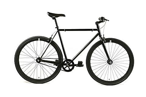 FabricBike- Vélo fixie noir, fixed gear, Single Speed, cadre Hi-Ten acier, 10Kg (Fully Matte Black, M-53)