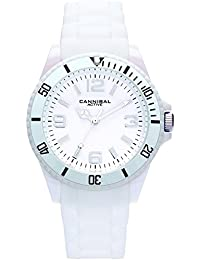 Cannibal Unisex Quartz Watch with White Dial Analogue Display and White Silicone Strap CJ209-01