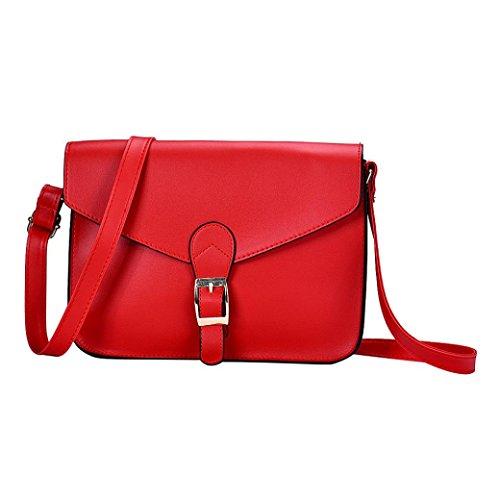 BZLine® Frauen Leder Umhängetasche Satchel Handtasche Retro Messenger bag (Rot) (Bag Messenger Retro Rote)