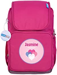 UniQBees Personalised School Bag With Name (Smart Kids Large School Backpack-Pink-Love Hearts)