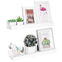 Vencipo White Floating Shelves Storage for Photo Ledge Display, Wall Hanging Book Shelf Organizer for Kids, Wall Mount Shelf Décor for Living Room, Entryway, Bathroom, Bedroom. (Set of 2)