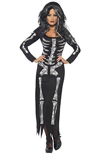 Halloween Erwachsene Damen Kostüm Weiblich Skelett Kostüm Komplettes Outfit Schwarz - Damen, Schwarz, (Weiblich Skelett Kostüme)