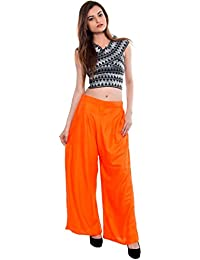 CAY® Orange Color Solid Stylish Plazzo With Elastic Waist And Two Pockets Western Wear ( SIZE : FREE SIZE )