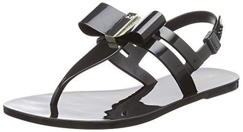 Zaxy Damen Glaze Sandal Bow T-Spangen Schwarz (Schwarz)