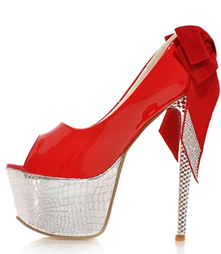 YE Frauen Peep Toe 16cm Hohe Absatz Plateau Stiletto Party Damen High Heels Plattform Pumps Mit Schleife Strass Schuhe Rot